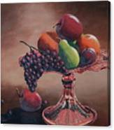 Mom's Pink Dish With Fruit Canvas Print