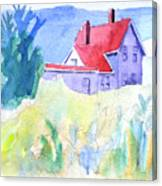Monhegan Light And Hill Canvas Print