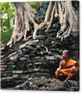 Monk At Preah Palilay Temple Canvas Print