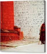 Monk In Tashilhunpo Monastery Shigatse Tibet Yantra.lv Canvas Print