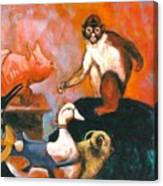 Monkey And Toys Canvas Print