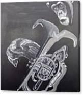 Monkey Playing Tuba Canvas Print