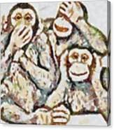 Monkey See Monkey Do Fragmented Canvas Print