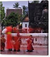 Monks At Luang Prabang Laos Canvas Print