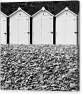 Monochrome Beach Huts Canvas Print
