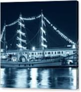 Monochrome Blue Boston Tall Ships At Night Boston Ma Canvas Print