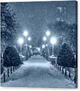 Monochrome Blue Nights Boston Public Garden Snow Storm Ma Massachusetts Bridge Lights Canvas Print