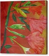 Monoprint Of Angel Trumpet Canvas Print