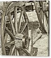Montana Old Wagon Wheels In Sepia Canvas Print