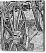 Montana Old Wagon Wheels Monochrome Canvas Print