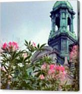 Montreal Bldg Among Flowers Canvas Print