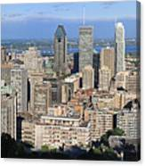 Montreal City Panorama From Mount Royal Quebec Canada Canvas Print