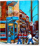 Montreal City Scene Hockey At Wilenskys Canvas Print