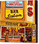 Montreal Paintings Dunns Restaurant Streets Of Montreal Canvas Print