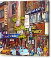 Montreal St.catherine Street Corner Peel Canvas Print