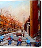 Montreal Street Hockey Game Canvas Print