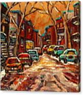 Montreal Streets In Winter Canvas Print