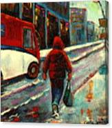 Montreal Streets Winter Morning Canvas Print
