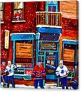 Montreal Wilensky Deli By Carole Spandau Montreal Streetscene And Hockey Artist Canvas Print