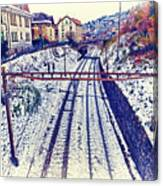 Montreux, Tracks In The City. Canvas Print