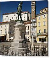 Monument And Statue Of Giuseppe Tartini At Tartini Square Piran  Canvas Print