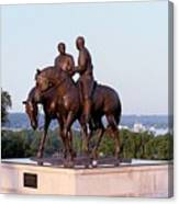 Monument In Nauvoo Illinois Of Hyrum And Joseph Smith Riding Their Horses Canvas Print