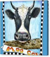 Moo Cow In Blue Canvas Print