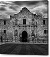 Moody Morning At The Alamo Bw Canvas Print