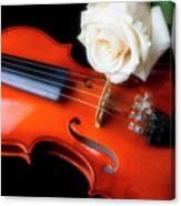 Moody Violin And Rose  Canvas Print
