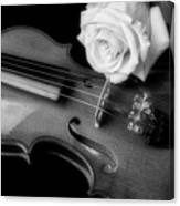 Moody Violin And Rose In Black And White Canvas Print