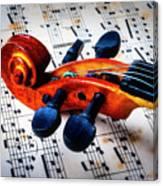 Moody Violin Scroll On Sheet Music Canvas Print