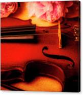 Moody Violin With Peonies Canvas Print