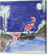 Moon Evening.flamingo. Water Color 1995 Canvas Print