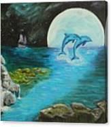 Moon Light Swim  Canvas Print