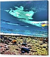 Moon Lit Beach, Bray, Wicklow, Ireland, Poster Effect1b Canvas Print