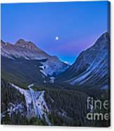 Moon Over Icefields Parkway In Alberta Canvas Print