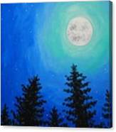 Moon Over Pines Canvas Print