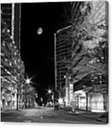 Moon Over The Bottom Canvas Print