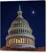 Moon Over The Washington Capitol Building Canvas Print