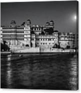 Moon Over Udaipur Bw Canvas Print