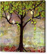 Moon River Tree Owls Art Canvas Print