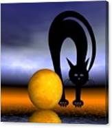 Mooncat's Play With The Fullmoon Canvas Print
