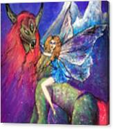 Moonlight Fairy And Her Horned Horse Canvas Print