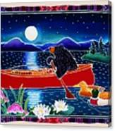 Moonlight On A Red Canoe Canvas Print