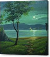 Moonlight Over The Sea Canvas Print