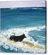 Moonlight Surfer Girl. Canvas Print