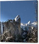 Moonlit Bridalveil  Falls-yosemite Valley Canvas Print