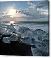 Moonlit Ice Beach Canvas Print