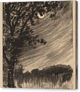 Moonlit Landscape With Tree At The Left Canvas Print
