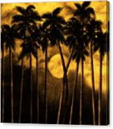 Moonlit Palm Trees In Yellow Canvas Print